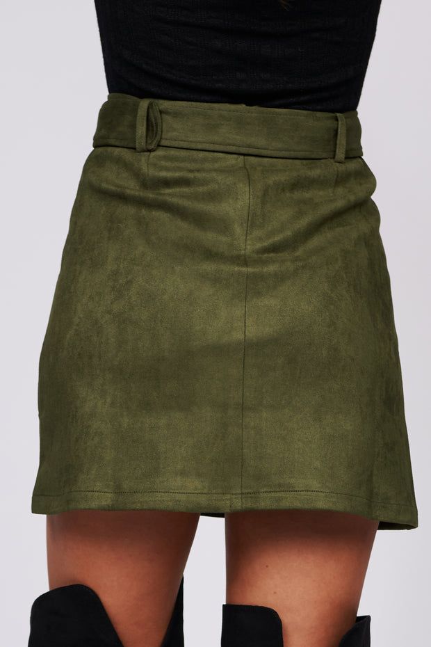 Long Road Home Faux Suede Mini Skirt (Olive) - NanaMacs