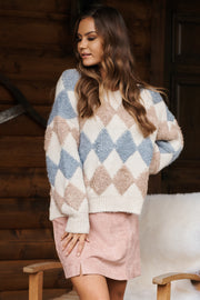 Reserved For You Sweater (Natural Taupe/Blue)