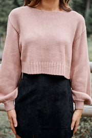 True Friends Cropped Sweater (Dark Mauve) - NanaMacs