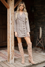 Be That Girl Plaid Blazer Dress (Brown)