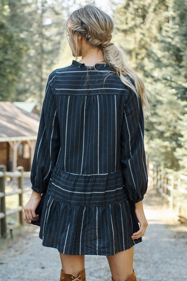 Corina Striped Dress (Navy) - NanaMacs