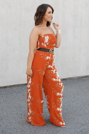 All The Right Moves Jumpsuit (Rust/Ivory)