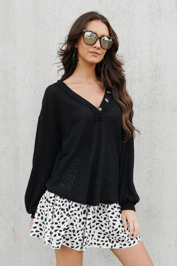 Tune In Sweater Top (Black)