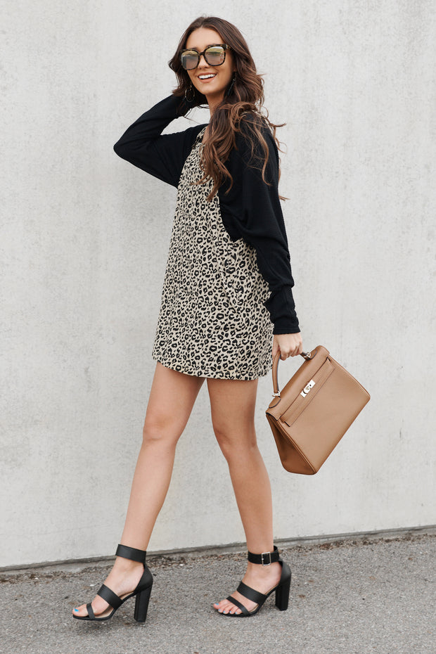 Spot In My Heart Overall Dress (Taupe)
