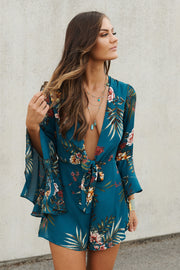 Here's To Us Romper (Teal)