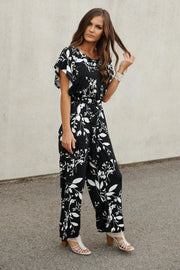 Midnight Flower Jumpsuit (Black/White)