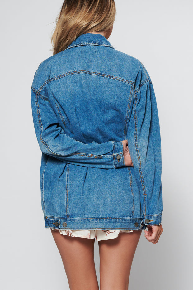 Check Your Facts Oversized Denim Jacket (Medium)