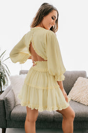 Didn't Even Notice Open Back Tiered Ruffle Dress (Cream) - NanaMacs