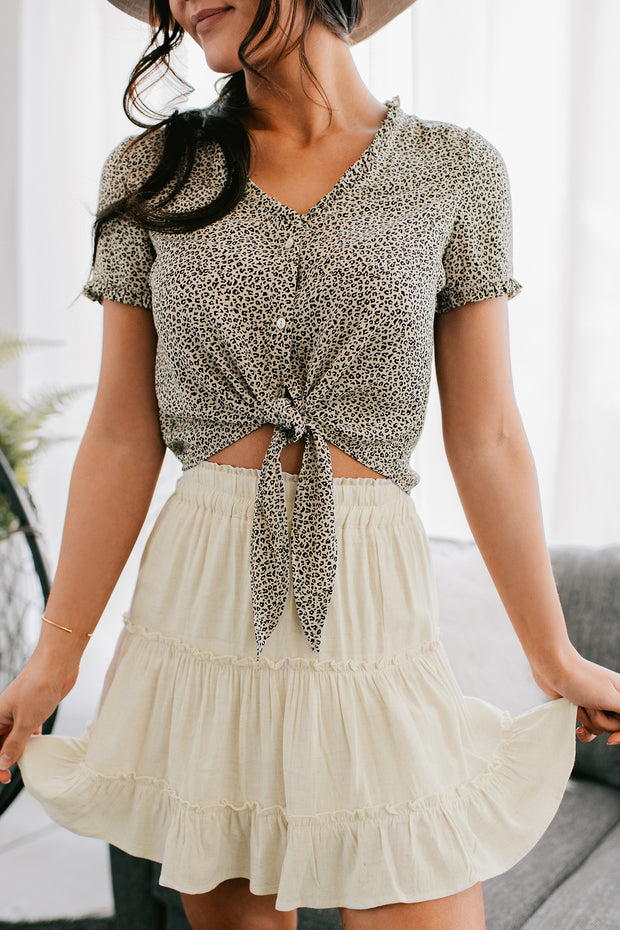 Might Be The Best Button Up Leopard Top (Cream/Black) - NanaMacs