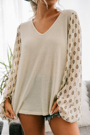 Playing Games Printed Bubble Sleeve Top (Cream)