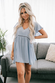 Bad For You Cutout Babydoll Top (Chambray)
