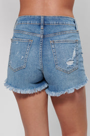 Faded Love Distressed Shorts (Medium Wash)