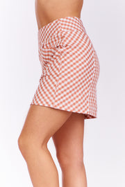 Top It Plaid Skirt (Blush)