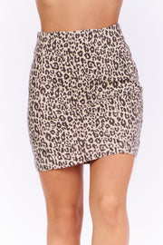 Change Makers Leopard Print Skirt (Taupe Combo) - NanaMacs