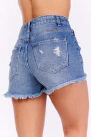 Covering The Basics Distressed High Rise Shorts (Medium Wash) - NanaMacs