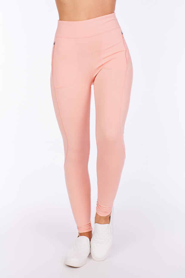 Push It Zipper Pocket Contoured Leggings (Cantaloupe)