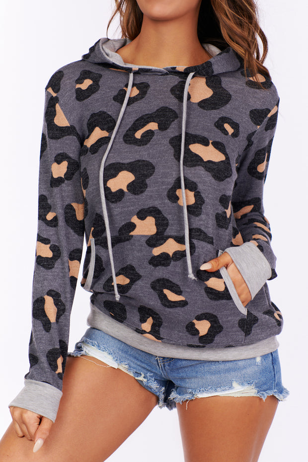 Party For Two Cheetah Print Hoodie (Charcoal) - NanaMacs