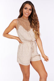 Across the Way Lace Detail Leopard Romper (Light Taupe/Mocha) - NanaMacs