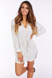 No Limitations Button Up Shirt Dress (Off White) - NanaMacs