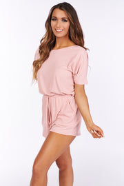 Stealing Time Dolman Sleeve Romper (Blush) - NanaMacs