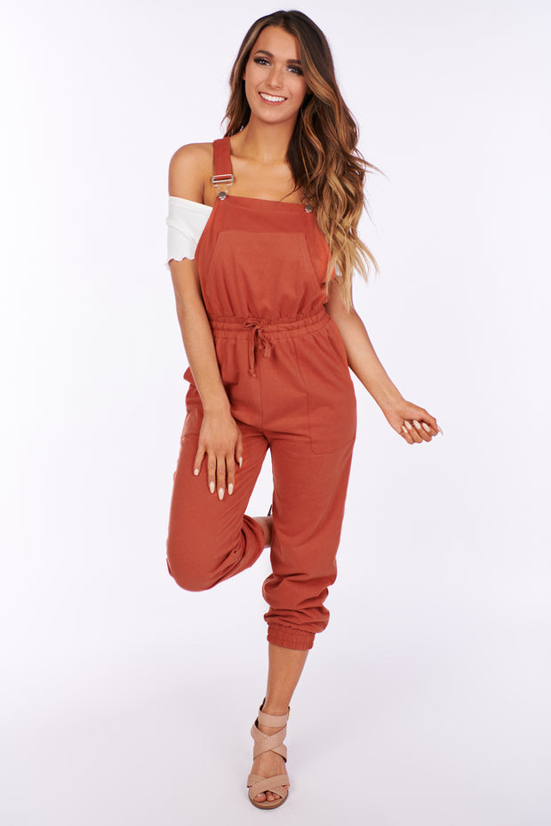 City Sleek Cinched Lounge Overalls (Brick) - NanaMacs