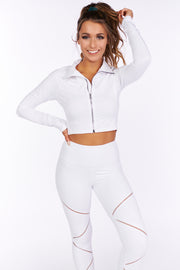 Came Here To Play Cropped Zip Up Athletic Jacket (White) - NanaMacs