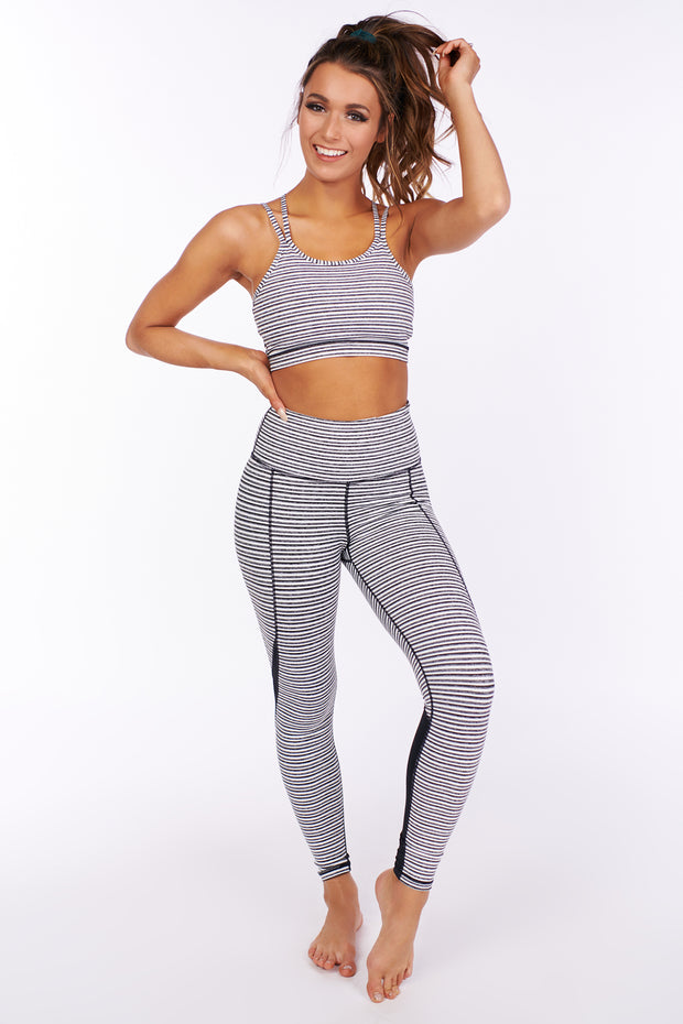 This Is The Year Striped Sports Bra (Black/White) - NanaMacs