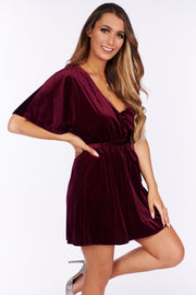 Classic Moments Velvet Dress (Burgundy) - NanaMacs