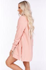 Cozy State Of Mind Open Front Cardigan (Blush) - NanaMacs