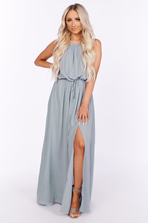 Something In You Halter Tie Maxi Dress (Cloud) - NanaMacs