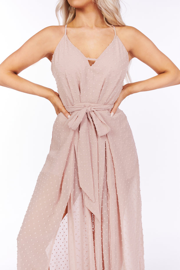 Too Cute Swiss Dot Leg Slit Jumpsuit (Mauve) - NanaMacs