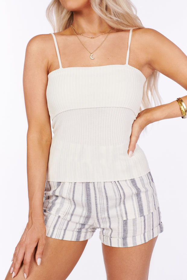 Strictly Mine Ribbed Tank Top (Cream)