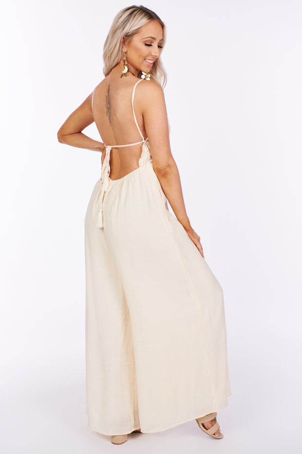 Running Out Of Reasons Eyelet Jumpsuit (Cream)