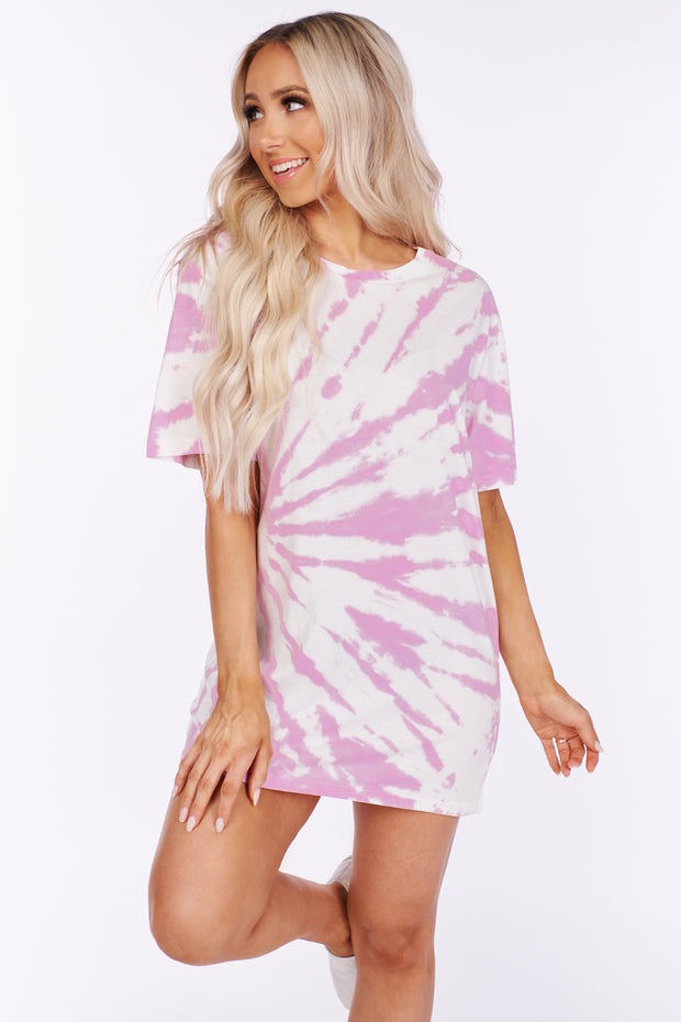 Always On Time Oversized Tie Dye Shirt (Pink)