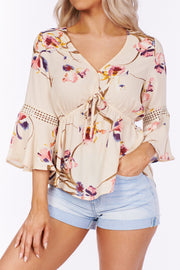 Come This Way Floral Babydoll Top (Ivory Multi) - NanaMacs