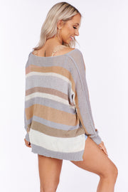 In The Morning Striped Sweater (Cloud/Peach) - NanaMacs