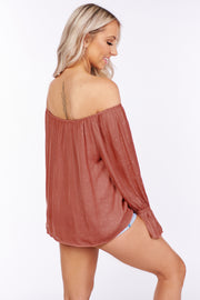 Doing Our Thing Polka Dot Off The Shoulder Top (Mauve)