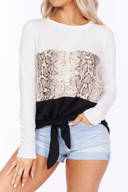 Give Me A Reason Snake Print Tie Top (Multi)