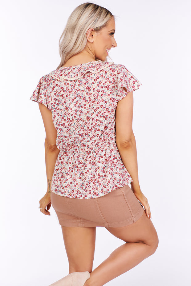 Where Did Our Love Grow Floral Ruffle Top (Magenta) - NanaMacs