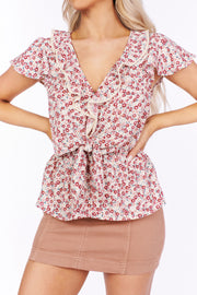 Where Did Our Love Grow Floral Ruffle Top (Magenta)
