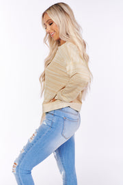 Work With Me Long Sleeve Striped Top (Taupe/Ivory) - NanaMacs