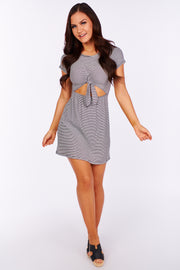 Getting It Right Striped Cut Out Dress (Black) - NanaMacs