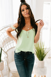Dream In Details Cold Shoulder Lace Cami (Mint) - NanaMacs
