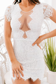 Formal Engagement Lace Dress (White) - NanaMacs