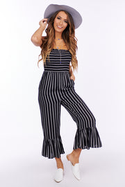 Time To Begin Strapless Ruffle Jumpsuit (Black/White) - NanaMacs