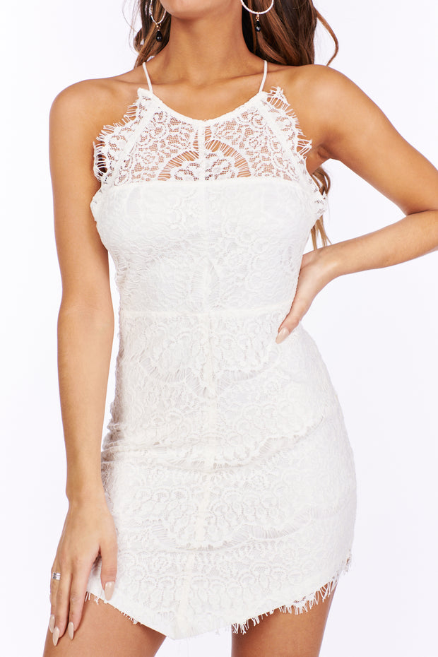 At Times Lace Button Detail  Dress (Ivory) - NanaMacs