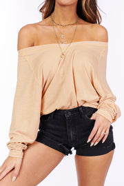 Can't Stay Lightweight Long Sleeve Top (Sand) - NanaMacs
