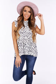 She's On Your Mind Mock Neck Ruffle Top (Off White/Black) - NanaMacs