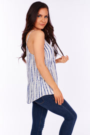 At Day Break Tie Dye Babydoll Tank Top (Navy/Ivory) - NanaMacs