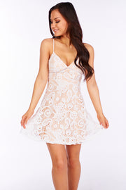 Cryptic Love Lace Dress (Off White/Taupe) - NanaMacs